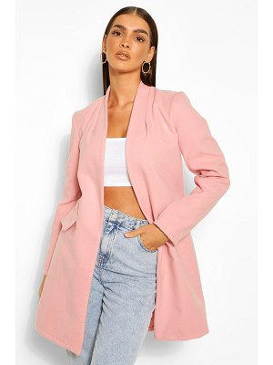 Boohoo Collarless Wool Look Coat