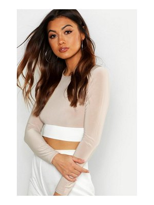 Boohoo Colour Block Long Sleeve Crop Top