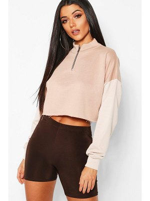 Boohoo Colour Block Tonal Cropped Sweat