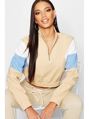 Boohoo Colour Block Zip Front Sweat