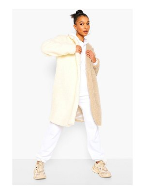 Boohoo Colourblock Teddy Faux Fur Coat