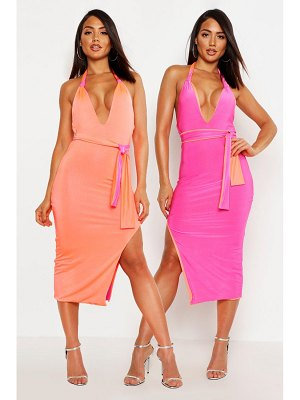 Boohoo Contrast Binding Halterneck Bodycon Midi Dress
