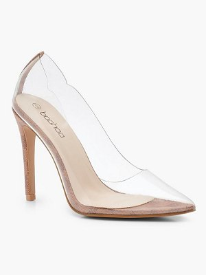 Boohoo Contrast Check Clear Pointed Heel Court Shoes