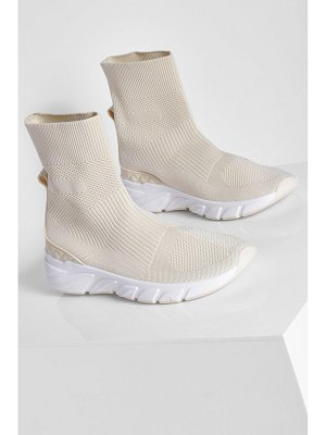 Boohoo Contrast Sole Knitted Sock Trainer