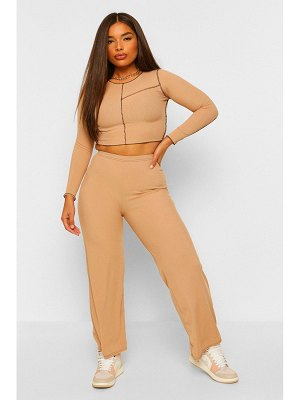 Boohoo Contrast Stitch Lettuce Hem Top And Trouser Co-Ord