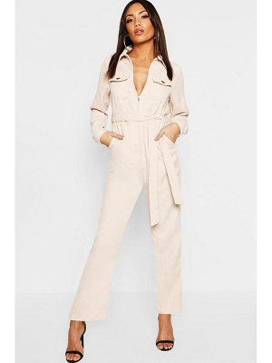 Boohoo Cord Belted Jumpsuit
