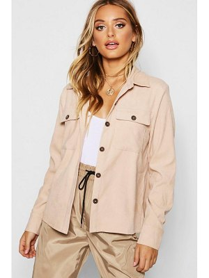 Boohoo Cord Horn Button Oversized Shirt