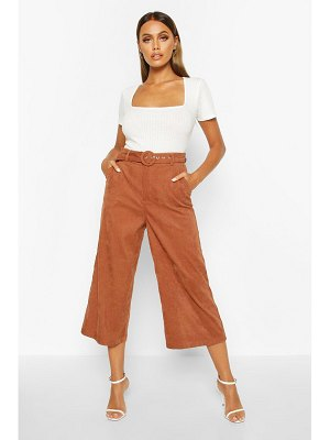 Boohoo Cord Self Belt Culottes