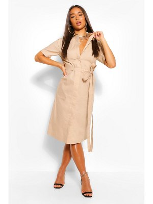 Boohoo Cotton Belted Midi Shirt Dress