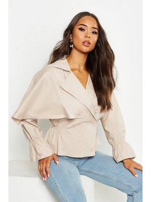 Boohoo Cotton Cropped Ruched Waist Trench Jacket
