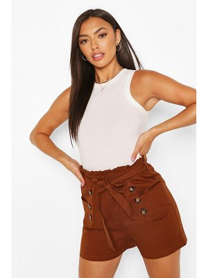Boohoo Cotton Mix Button Detail Belted Shorts