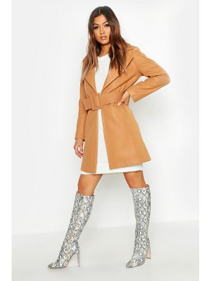Boohoo Covered Belt Wool Look Coat