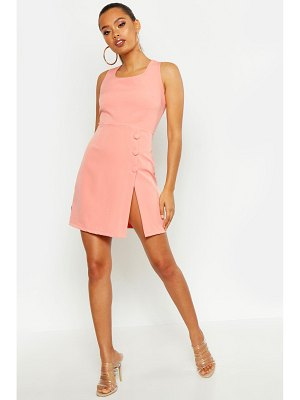 Boohoo Covered Button Detail Tailored Dress