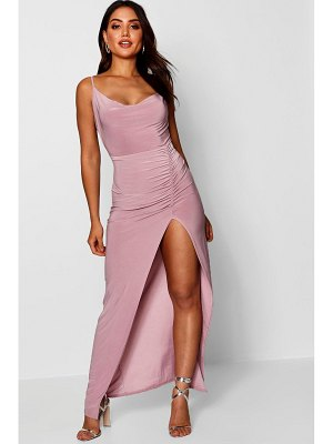 Boohoo Cowl Neck Ruched Detail Maxi Dress