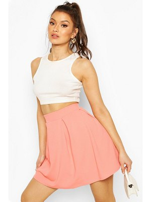 Boohoo Crepe Box Pleat Skater Skirt