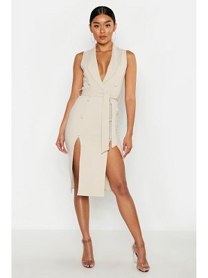 Boohoo Crepe Button Detail Split Front Midi Dress