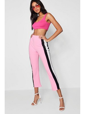 Boohoo Crepe Side Stripe Kick Flare Pants