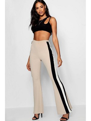Boohoo Crepe Sports Stripe Flare Trouser
