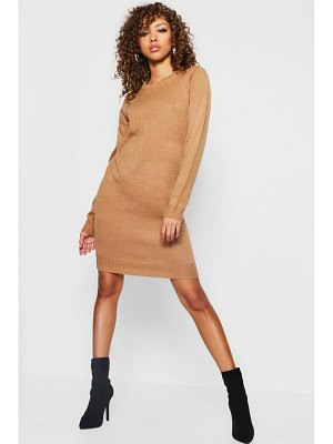 Boohoo Crew Neck Long Sleeve Knitted Dress