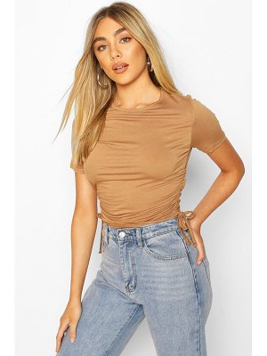 Boohoo Crew Neck Ruched Side T-Shirt
