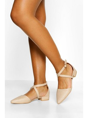 Boohoo Croc Pointed Toe Cross Strap Ballet Pumps