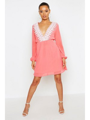 Boohoo Crochet Plunge Skater Dress