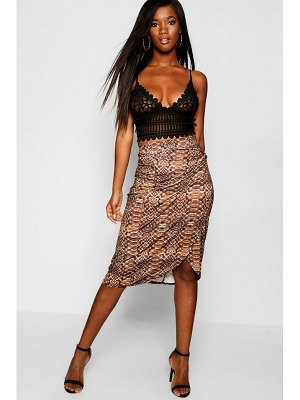 Boohoo Crocodile Wrap Tie Midi Skirt