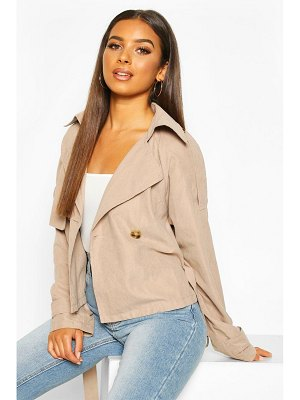 Boohoo Crop Double Breasted Trench Coat