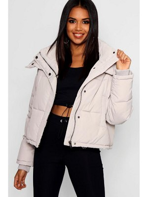 Boohoo Crop Funnel Neck Puffer