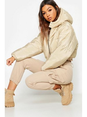 Boohoo Crop Hooded Puffer Jacket