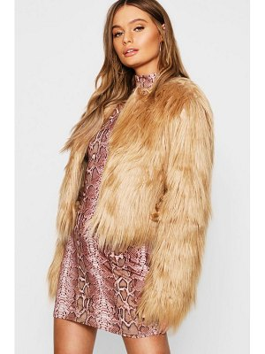 Boohoo Crop Shaggy Faux Fur Coat