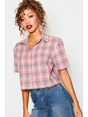Boohoo Cropped Check Shirt