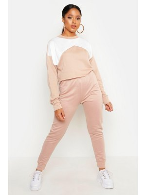 Boohoo Cropped Contrast Tracksuit
