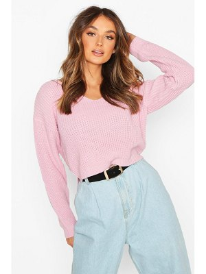 Boohoo Cropped Fisherman V Neck sweater