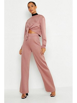 Boohoo Cropped Knot Front Wide Leg Tracksuit