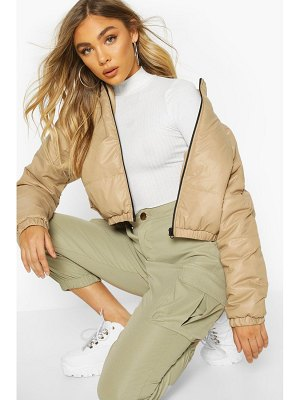Boohoo Cropped Panelled Puffer Bomber Jacket