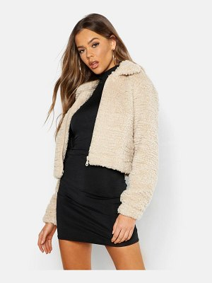 Boohoo Cropped Teddy Faux Fur Jacket
