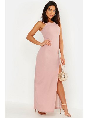 Boohoo Cross Front Split Maxi Dress