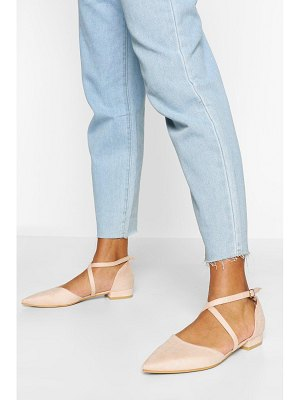 Boohoo Cross Strap Pointed Ballet Pumps