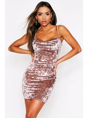 Boohoo Crushed Velvet Cowl Neck Mini Dress
