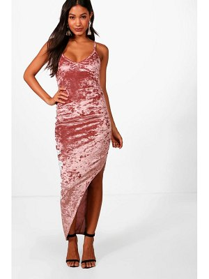 Boohoo Crushed Velvet Ruched Side Maxi Dress
