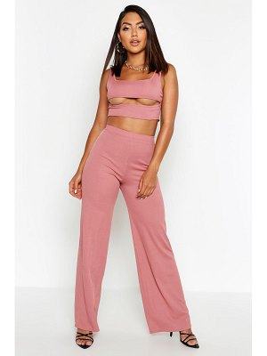Boohoo Cut Out Rib Top & Wide Leg Trouser Co-ord