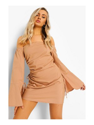 Boohoo Cut Out Ruched Off The Shoulder Mini Dress