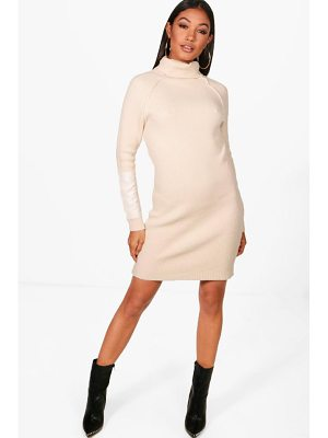 Boohoo Daniella Heavy Knit Suede Patch Jumper Dress