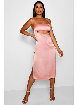 Boohoo Danielle Satin Cut Out Front Slip Midi Dress