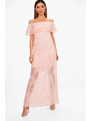 Boohoo Danielle Scallop Lace Off Shoulder Maxi Dress