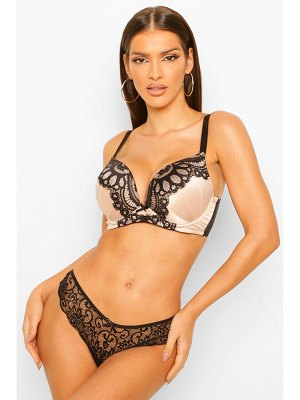 Boohoo Fuller Bust Satin And Lace Plunge Bra