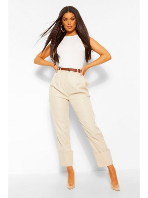 Boohoo Deep Cuff Belted Pleat Front Pants