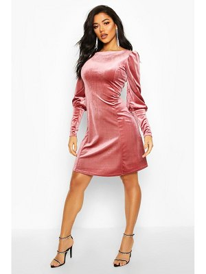 Boohoo Deep Cuff Fit And Flare Mini Dress