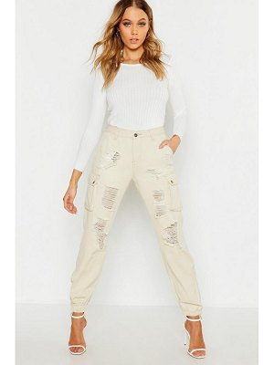 Boohoo Denim Cargo Pocket Distressed Trouser